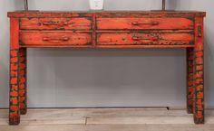 """Tavolo consolle """"Ancona"""" in legno dipinto a mano nella versione rosso anticato. Hand-painted wood Console Table """"Ancona""""  in antique red color."""
