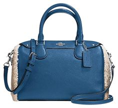 d4ad2ff523ca Coach Mini Bennett In Shearling And Leather Slate & Silver Satchel. Save  48%… Tradesy