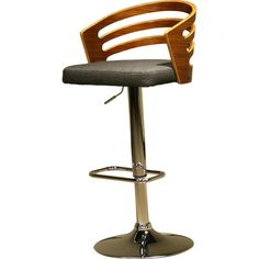 """This stylish modern bar stool showcases a sleek and elegant design. A sturdy construction, a beautifully upholstered black colored seat cushion, and an eye-catching walnut frame make this barstool pop against any décor. This barstool features an adjustable height of 24""""-33"""" and a 360° swivel."""