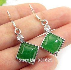 3 pairs Lots Natural Jade 925 Hook Square Dangle Earring Fine Jade Green Jade Earrings Jewelry Girl's Gift