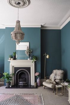 Living room painted in Inchyra Blue, ceiling in Shaded White and the fire surrou. Living room painted in Inchyra Blue, ceiling in Shaded White and the fire surround in Drop Cloth. Farrow And Ball Living Room, Teal Living Rooms, Living Room Decor Colors, Living Room Color Schemes, Blue Rooms, Living Room Grey, Living Room Designs, Farrow And Ball Kitchen, Duck Egg Blue And Grey Living Room
