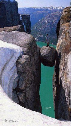 Would you get on this rock in Kjeragbolten, Norway?