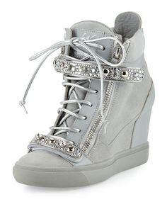 Giuseppe Zanotti for Jennifer Lopez Tiana Crystal High-Top Wedge Sneaker,  Gray 7f204bf113cd
