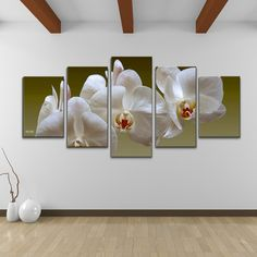 Bruce Bain 'White Orchid' 5-piece Set Canvas Wall Art
