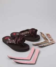 Take a look at this Brown Interchangeable Flip-Flop by One Ruby Lane on #zulily today!