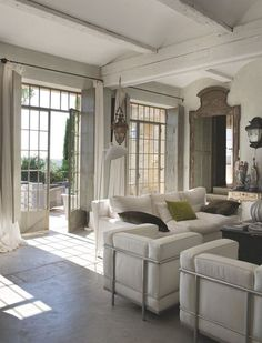 love the modern furniture with the traditional architecture.