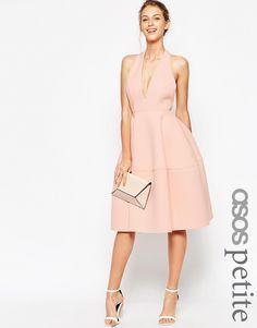 ASOS PETITE Premium Scuba Backless Halter Full Midi Dress