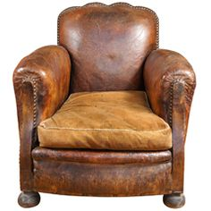Shop club chairs and other antique and modern chairs and seating from the world's best furniture dealers. Leather Furniture, Leather Sofa, Antique Furniture, Furniture Decor, Outdoor Furniture Chairs, Old Chairs, Mission Style Furniture, Green Armchair, Leather Club Chairs