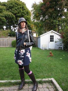 floral shirt dress, riding boots, knee-high socks, scarf, backpack, moto jacket
