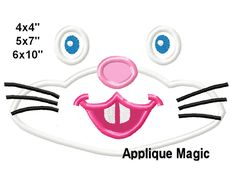 Easter Bunny face Machine Applique Design Embroidery Pattern for Face Masks or Others 4x4 5x7 6x10 INSTANT DOWNLOAD by AppliqueMagic on Etsy Machine Applique Designs, Machine Embroidery Patterns, Different Types Of Fabric, Bunny Face, W 6, Easter Bunny, Printing On Fabric, Face Masks, Pattern Design