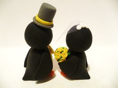 Penguin Wedding Cake Topper Choose Your Colors by topofthecake