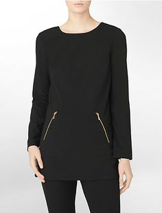 exposed zip detail long sleeve tunic