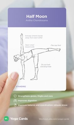 HOW TO: Half Moon yoga position – visual workout sequence pose and benefits guide for beginners from the YOGA CARDS deck by WorkoutLabs: http://WLshop.co