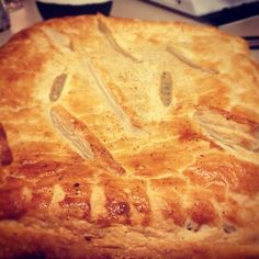 Home baked savoury pie. Puff pastry top