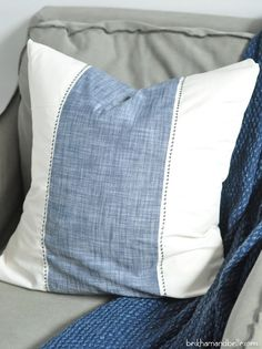 DIY Serena & Lily inspired chambray stripe throw pillow