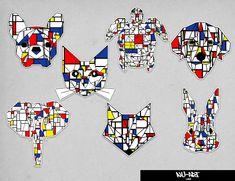 Mondrian art inspired sticker vinyl sticker geometric animal sticker cat dog elephant fox french bulldog turtle rabbit labrador sticker by NuartGoods on Etsy Mondrian Art, Geometric Animal, Cat Dog, Sticker Vinyl, Diy Garden Decor, French Bulldog, Labrador, Turtle, Craft Projects