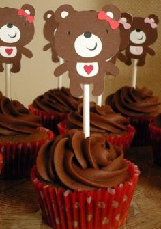 Cute bear cupcake toppers
