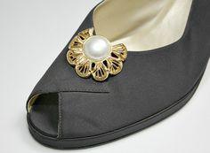 Vintage Filigree Shoe Clips  Gold Tone Metal / by estatesalegems, $4.50