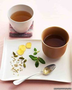 ~Soothing Ginger Tea Recipe~ Fresh rosemary infuses lightly sweetened apples, top, with an unexpected aroma and flavor. Mint invigorates a calming tea, above, brewed from a traditional Indian blend of ginger, fennel, and cardamom.