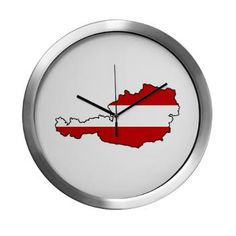 Flag Map of Austria Modern Wall Clock Modern Wall, Decorating Your Home, Austria, Flags, Clock, Map, Design, Products, Watch