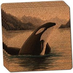 "Amazon.com: Custom & Cool {4"" Inches} Set Pack of 4 Square ""Grip Texture"" Drink Cup Coaster Made of Cork w/ Cork Bottom & Orca Killer Whale Ocean Nature Scene Design [Blue, Black, Gray & Brown Colors]: Home & Kitchen"