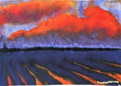 Evening Landscape North Frisia Artwork by Emil Nolde Hand-painted and Art Prints on canvas for sale,you can custom the size and frame