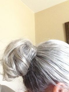 Silver hair in a ponytail
