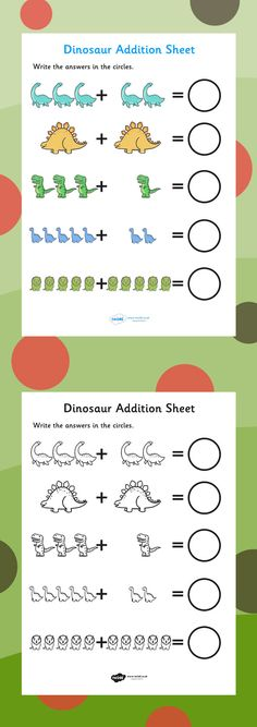 Dinosaur Addition Sheet - FREE DOWNLOAD