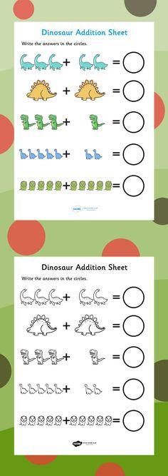 Dinosaur Addition Sheet - FREE DOWNLOAD