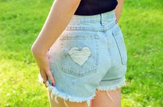 Add a frayed heart to the back pocket. | A Comprehensive Guide To Making The Cutoffs Of Your Dreams