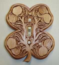 Irish four leaf clover - All hand carved solid wood switch cover plate by creativemind44, $28.00