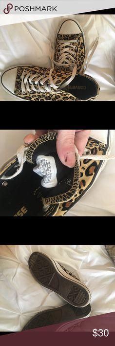 Leopard Converse Shoes Size 8 women's leopard converse.  Euc. Converse Shoes Sneakers