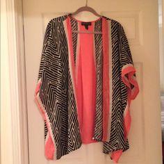 Kimono *Plus* Bright Orange/Coral, black and white kimono. 3x. Worn 1X. Forever 21 Sweaters Shrugs & Ponchos