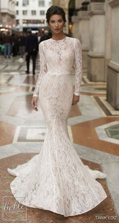 Wedding Dresses 2019 – The White Bridal Collection. Winter lace modest mermaid w… Wedding Dresses 2019 – The White Bridal Collection. Winter lace modest mermaid wedding dress with sleeves Rose Gold Wedding Dress, Mermaid Wedding Dress With Sleeves, Simple Elegant Wedding Dress, Lace Dress With Sleeves, Gorgeous Wedding Dress, White Wedding Dresses, Mermaid Dresses, Wedding Dress Styles, Wedding Party Dresses