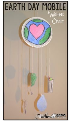 Teach your students about Earth Day (April 22, 2018) with this fun Earth Day writing craft mobile! #TeacherGems