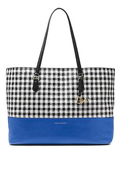 The Voyage Large tote in colorblocked gingham by Diane Von Furstenberg is practical, chic and perfect for work or weekend.