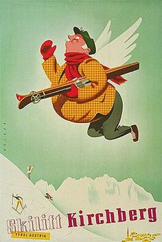 Kirchberg ~ Tyrol _______________________________ Autriche ~ Österreich ~ Austria Vintage Advertisements, Vintage Ads, Online Painting, Paintings Online, Vintage Ski Posters, Tourism Poster, Retro Illustration, Illustrations Posters, Poster Prints