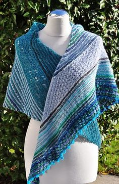 Pretty shades of perriwinkle and aqua.  Yours Truly, Summer.  shawl pattern is free on Ravelry