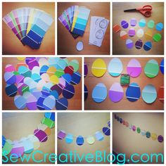 Paint Chip Easter Egg Garland Tutorial great easter decoration for on the wall or hanging in a window.
