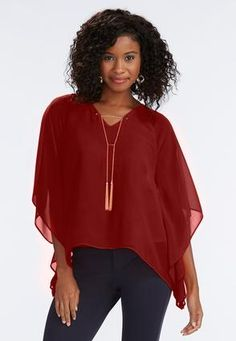 Cato Fashions Tasseled Chain Poncho Top-Plus #CatoFashions