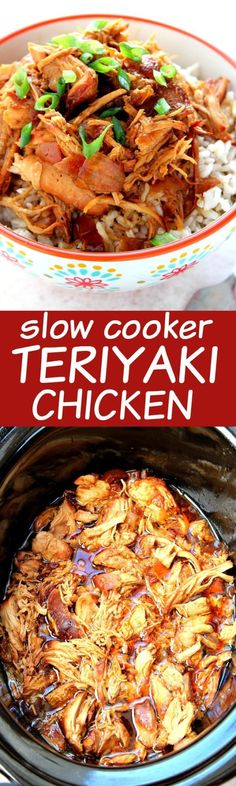 Slow Cooker Teriyaki Chicken - one of the easiest crock pot meals you can make! Chicken thighs or breasts cooked in teriyaki sauce and served over rice. A ton of flavor with minimal prep. You will love this dinner idea! by Kadeux