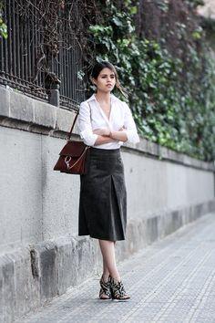 Button down shirt, suede skirt & snake print sandals
