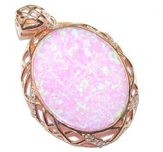SilverRushStyle.com - Exotic Style! AAA Japanese Fire Opal & White Topaz Rose Gold plated Sterling Silver pendant