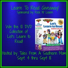 Learn to Read Giveaway  One winner will receive the complete 10 DVD Set of the Learn to Read set. Open to residents residing within the United States and this contest ends on 9/18/2015 at 11:00 PM CST