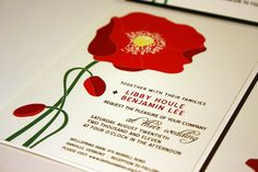 SAMPLE Poppy Wedding Invitation Red Green Chocolate by vohandmade, $1.50