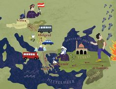 Map of the journey of a Syrian refugee from Syria to Austria.  Bianca Tschaikner