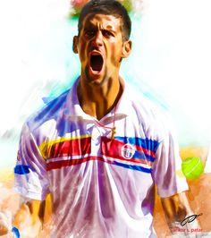 Digital Painting/Novak Djokovic by Ankur Patar of India via Behance.  #tennis