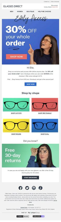 03a6ed8ad25d Personalized email with discount code from Glasses Direct  EmailMarketing   Email  Marketing  Coupon
