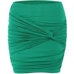 Yoins Twist Front Pencil Mini Skirt ($23) ❤ liked on Polyvore featuring skirts, mini skirts, green, bodycon mini skirt, short skirts, stretch mini skirt, ruched pencil skirt and green skirt