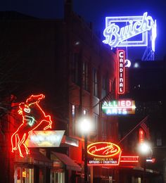 The new Buick sign at 1101 N Broadway in Automobile Alley is an addition to several other neon signs in the immediate vicinity. The Buick sign was lit for the first time on March 20 in Oklahoma City. Photo by K.T. King, The Oklahoman  <strong>KT King</strong>